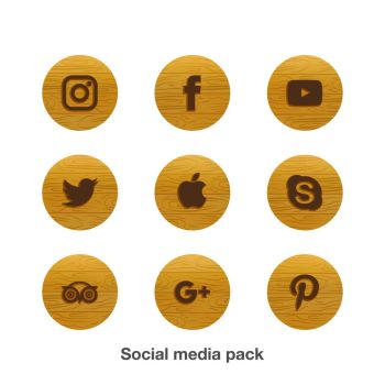Social Media Icons Pack Set Wood theme by coddih