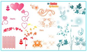 Hearts, stars n leaf brushes. by Snowiee