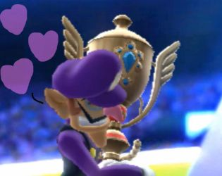 Waluigi loves his first place trophy! by Sandrag1