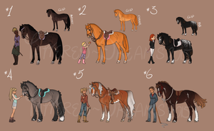 Horse And Rider Adoptables - CLOSED by Tattered-Dreams