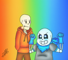 Underswap Sans and Papyrus by XDRAG0NF1REX