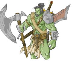 Orsarc the Orc Barbarian Warchief by revoincubus