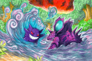 Gengar VS Nidorino (2014) by Pixelated-Takkun