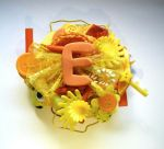 orange and yellow ''E'' initial brooch by queenofexecutions