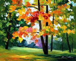 Gold of fall by Leonid Afremov by Leonidafremov