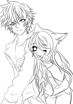 Drakko and Neko Linert (in process) by pandanekochanx3