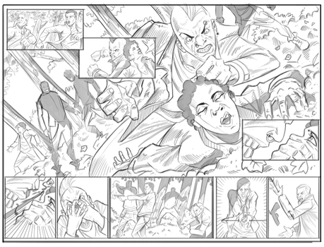 double page spread Green arrow by Javilaparra