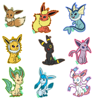 Eeveelution Keychains by VIcTobious