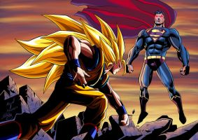 Goku vs Superman Colored by SWAVE18