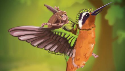 Fly with a bird by Shelleyna