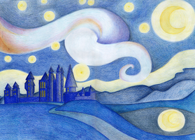 Starry Night Over Hogwarts by Rotae