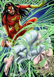 Spiderwoman vs Emma Frost by BlackProf