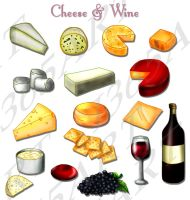 Cheese and Wine ClipArt Set by Peipei22