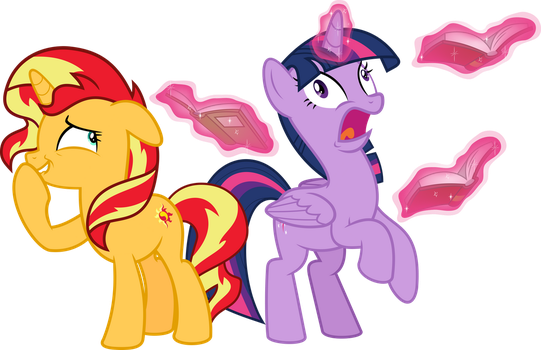 MLP Vector - Sunset Shimmer and Twilight Sparkle by jhayarr23