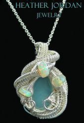 Aqua Chalcedony Wire-Wrapped Pendant in Tarnish-Re by HeatherJordanJewelry