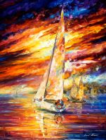 Sailing to the horizon by Leonid Afremov by Leonidafremov
