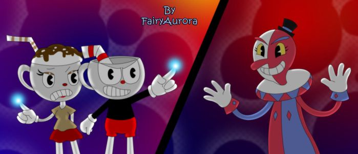 AT: Cuphead and Neslo VS Beppi the Clown by FairyAurora