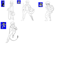 Pokemon Red and Blue pt2- Trainers Sketches -(WIP) by CrisFarias