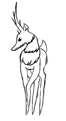 Tall deer thing with horns and floof by CosmicDreamsOfArt