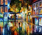 Strip mall oil painting on canvas by L.Afremov
