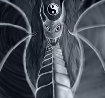 light and dark dragon by Red-Thorn-Dragon