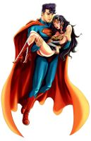 superman and wonder woman by fcohuei