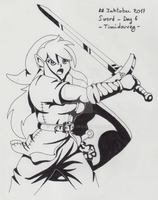 Inktober 2017 - 06 Sword by Timidouveg