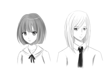 Short Female Hairstyle + Long Male Hairstyle by AngelOfLight98