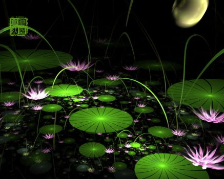 Moonlight Over the Lotus Pond by fractist