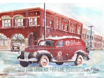 The Homefront (1940 Ford Panel Truck Painting) by FastLaneIllustration