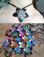 Scale mail flower choker by Hiddendemon-666