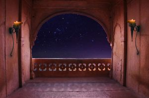 Arabian Nights Balcony premade background by little-spacey