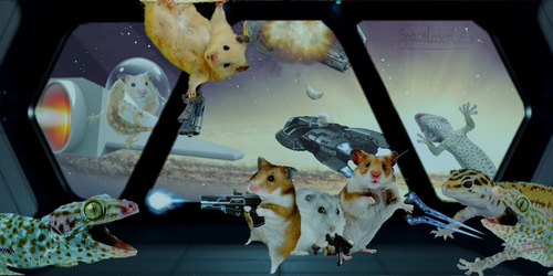 Hamsters vs Geckos by SpaceLaserCats