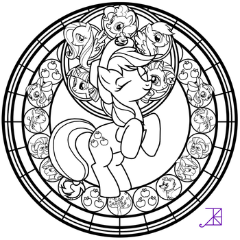 Stained Glass: Applejack -line art- by Akili-Amethyst