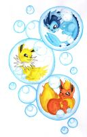 PokeBubbles - First Eeveelutions by lemony-kitty