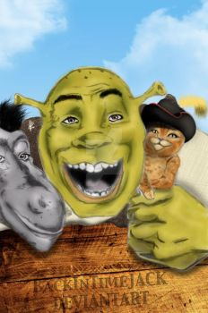 Shrek, Donkey and the Puss in Boots by BackInTimeJACK