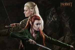 Legolas and Tauriel 1 - The Hobbit cosplay (test) by LuckyStrikeCosplay