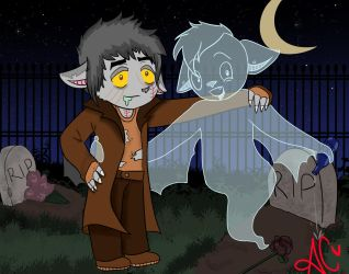 Silver the Bat and Ghost Bat friend by dMourn3ing-the-Glory