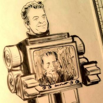 Patton Oswalt as a robot full of movies. by RobertHack