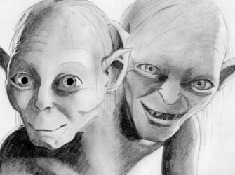 Smeagol and Gollum by suillean
