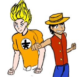 Goku and Luffy by pvtjcaboose