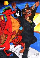 Jake and Stray-Halloween Stroll by Stray-Sketches