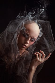 Model with a fake bald on black background by Black-Bl00d