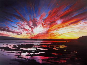 January Sunset Over Rockpools in Garryvoe by eastcorkpainter