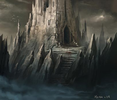 The Castle on the East Mountain Pinnacle ! by Reza-Afshar-Art