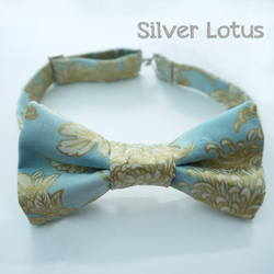 Sky blue bowtie with gold chrysanthemums by Idzit