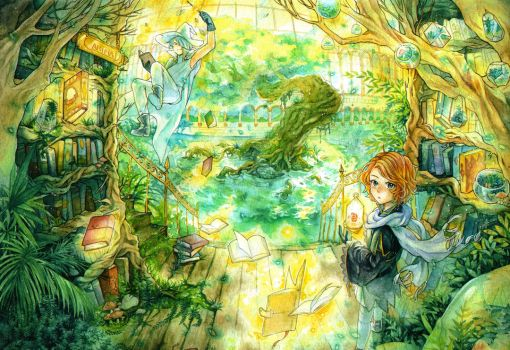 Magical green library by blackrainbow2304