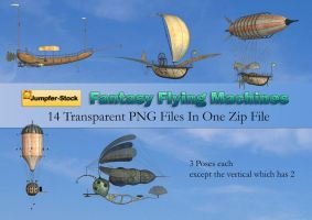 Fantasy Flying Machines PNG Stock Pack by Roy3D