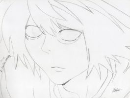Lineart~L Lawliet by luckyworld2510