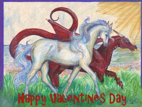 Happy Valentines Day! White Horse Red Dragon Magic by StephanieSmall